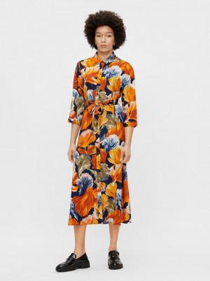 Pieces oranžové květované košilové midi šaty Rosia