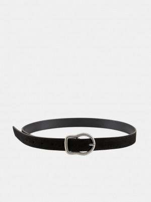 Pieces černý kožený pásek Tina -