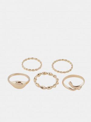 Pieces zlatá sada 5 prstenů Jifra