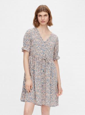 Pieces modré květované šaty Cindy