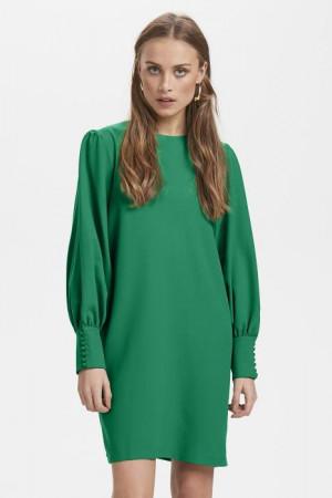 Ichi zelené šaty Ihbelinda DR s dlouhým rukávem -