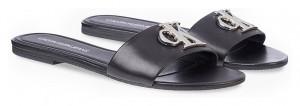 Calvin Klein černé kožené pantofle Flat Sandal -
