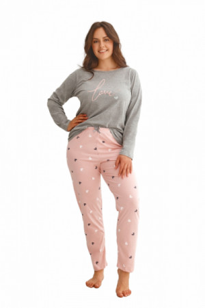 Taro Cora 2607 Z'22 Dámské pyžamo plus size 3XL světle hnědá