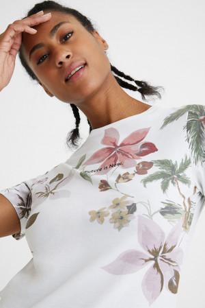 Desigual bílé tričko Tee Crossed Open Back Life