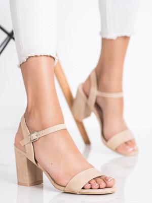 Exkluzívní  sandály dámské hnědé na širokém podpatku