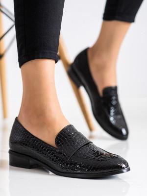 Pohodlné dámské černé  mokasíny na plochém podpatku