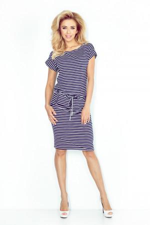 Dámské šaty 139-1 - Numoco tmavě modrá s bílou