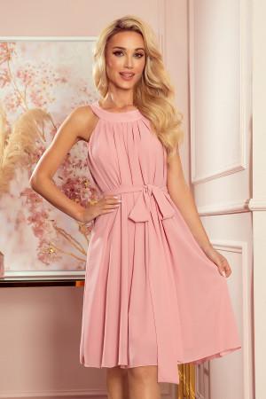 ALIZEE - dámské šifonové šaty v pudrově růžové barvě s vázáním 350-2