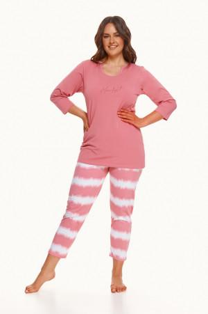 Dlouhé dámské pyžamo 2606 CARLA 2XL-3XL ZIMA 2021 růžový 3XL