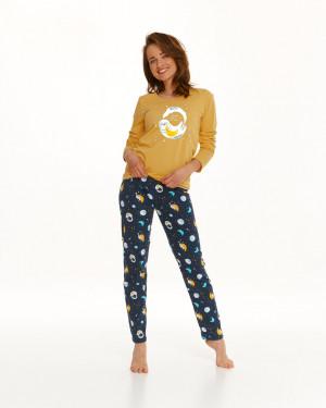 Dlouhé dámské pyžamo 2579 SARAH ZIMA 2021 Žlutá