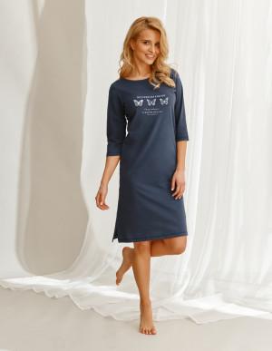 Dlouhá dámská noční košile 2558 OMENA ZIMA 2021 námořnická modrá