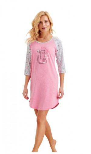 Dámská noční košile 2325 MOCCA - Taro růžová - šedá