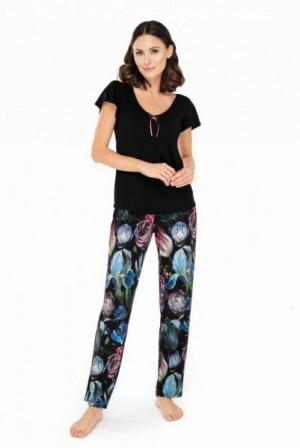 Babella Ingrid Dámské pyžamo XL černá-květina