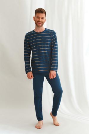 Dlouhé pánské pyžamo 2640 HARRY L-2XL ZIMA 2021 námořnická modrá