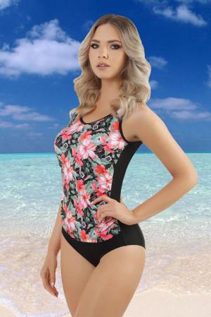 Dámské jednodílné plavky Karlie - ZALEWSKI černá s květy 5XL