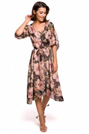 Dámské šaty S226 - Stylove černo-béžová L-40
