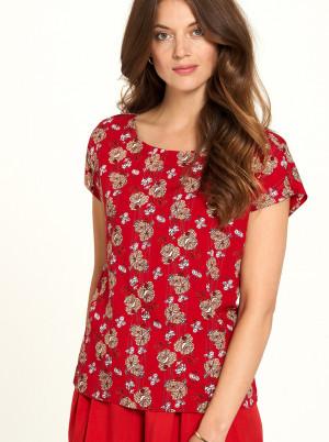 Tranquillo červené tričko s květinovým motivem