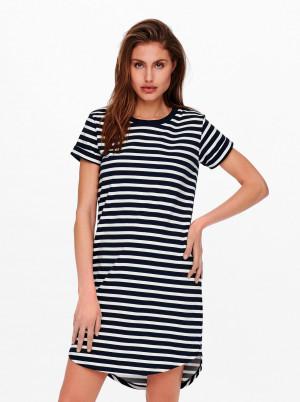 Jacqueline de Yong bílo-modré basic pruhované šaty
