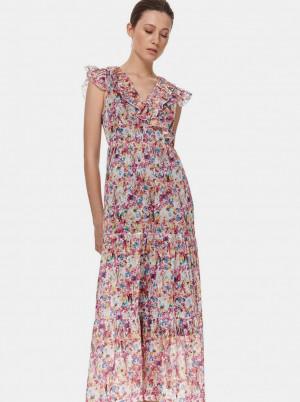 TOP SECRET růžové květované maxi šaty