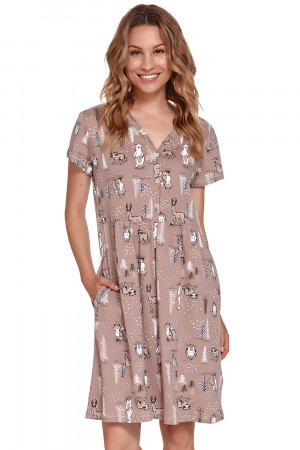 Těhotenská/kojící noční košile Doctor Nap TCB.9930 beige l
