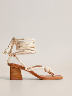 Mango krémové sandály Cord -