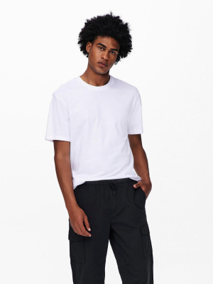 ONLY & SONS bílé pánské tričko Paste s potiskem na zádech