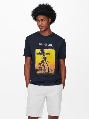 ONLY & SONS modré pánské tričko Pasmal s potiskem