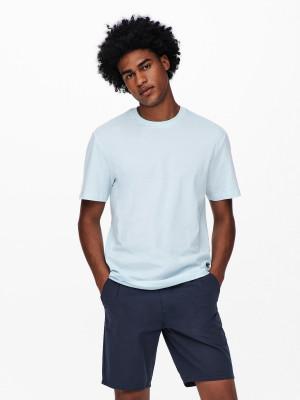 ONLY & SONS modré pánské tričko Pine s potiskem na zádech