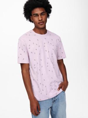 ONLY & SONS růžové pánské tričko Prove