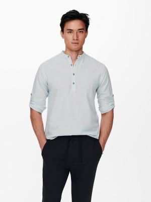 ONLY & SONS modré lněné pánské tričko Caiden