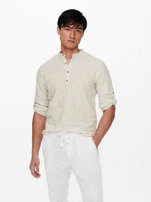 ONLY & SONS krémové lněné pánské tričko Caiden
