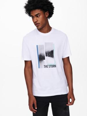 ONLY & SONS bílé pánské tričko Pasmal s potiskem