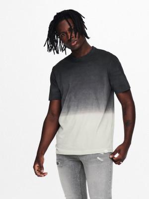 ONLY & SONS šedo-černé pánské tričko Tyson