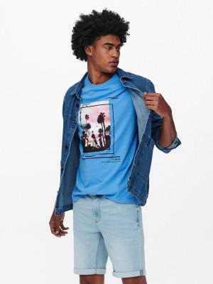 ONLY & SONS modré pánské tričko Pasmal