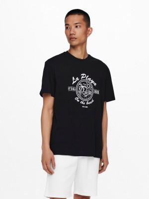 ONLY & SONS černé pánské tričko Pine s potiskem