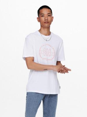 ONLY & SONS bílé pánské tričko Pine s potiskem