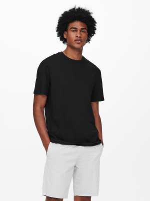 ONLY & SONS černé pánské tričko Paste s potiskem na zádech