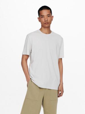 ONLY & SONS šedé pánské tričko Paste s potiskem na zádech