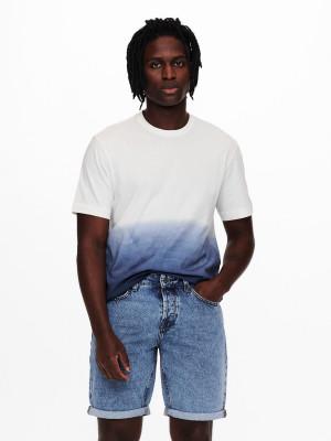 ONLY & SONS bílo-modré pánské tričko Tyson