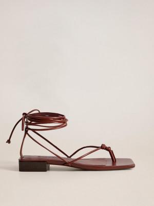 Mango vínové kožené sandály Cordon -