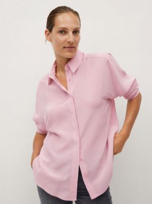 Mango růžová hedvábná košile