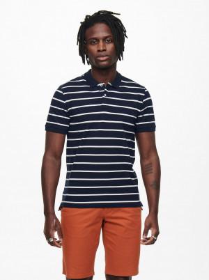 ONLY & SONS modré pánské polo tričko Cooper