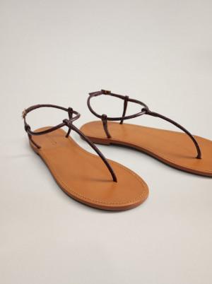Mango hnědé kožené sandály Formen -
