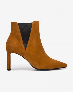 Högl hnědé kotníkové kožené boty -