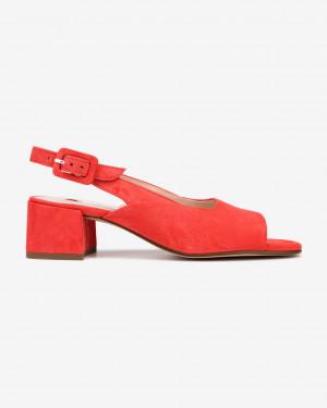 Högl červené kožené boty na podpatku -