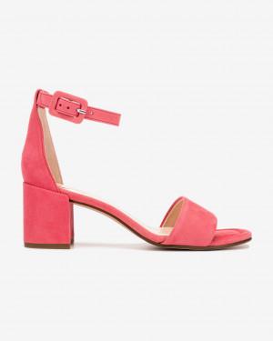 Högl růžové kožené boty Innocent na podpatku -