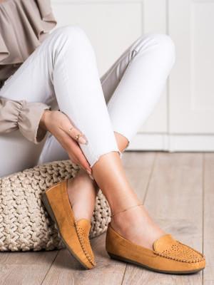 Trendy  mokasíny hnědé dámské bez podpatku