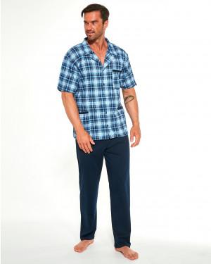 Rozepínací pánské pyžamo Cornette 318/42 kr/r 3XL-5XL niebieski 4XL