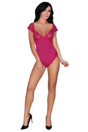 Erotické body Cheriee - COFASHION tmavě růžová S/M