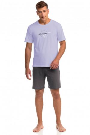Vamp - Pohodlné dvoudílné pánské pyžamo 14934 - Vamp purple heather m